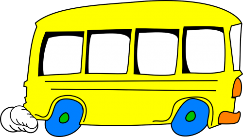 schoolbus yellow driving