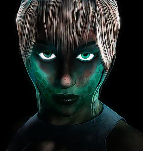 sci-fi woman glow