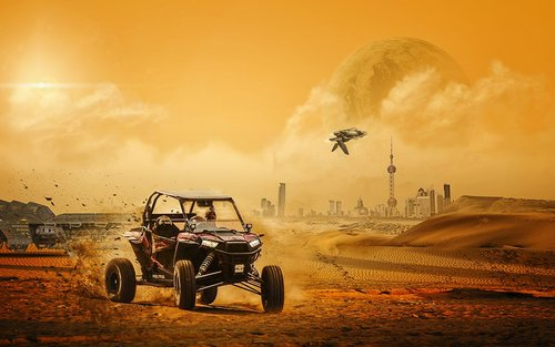 science fiction  beach buggy  spaceship