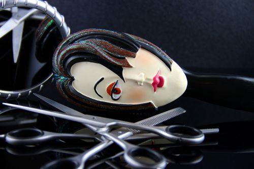 scissors woman mirror