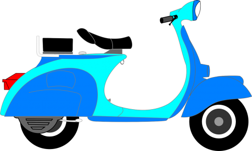 scooter blue two-wheeler