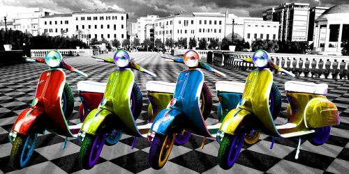 scooters bikes artwork