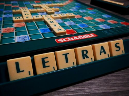 scrabble game of table board