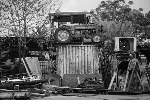 scrap  bus  tractor