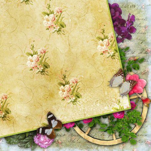 iškarpų albumas,popierius,foninis iškarpų albumas,vintage,gėlės,drugelis