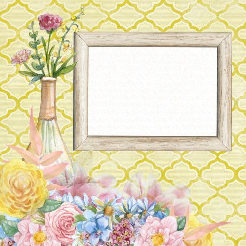 Scrapbook Page Flower Soft Yellow