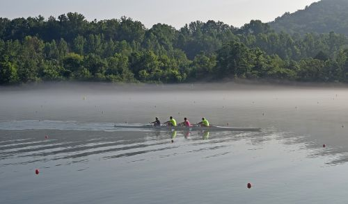 scull rowing in fog early morning