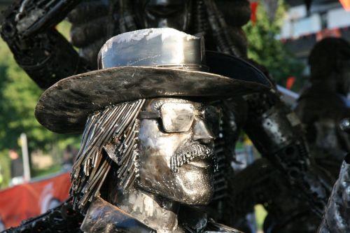 sculpture metal biker