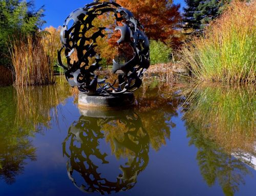sculpture about pond