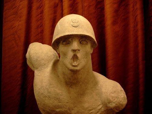 sculpture bust polish soldier