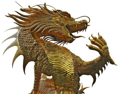sculpture dragons golden