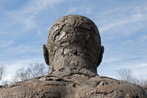 skulptūra,figūra,statula,Patinas,menas,grubus,galva,pečiai,parkas,dangus