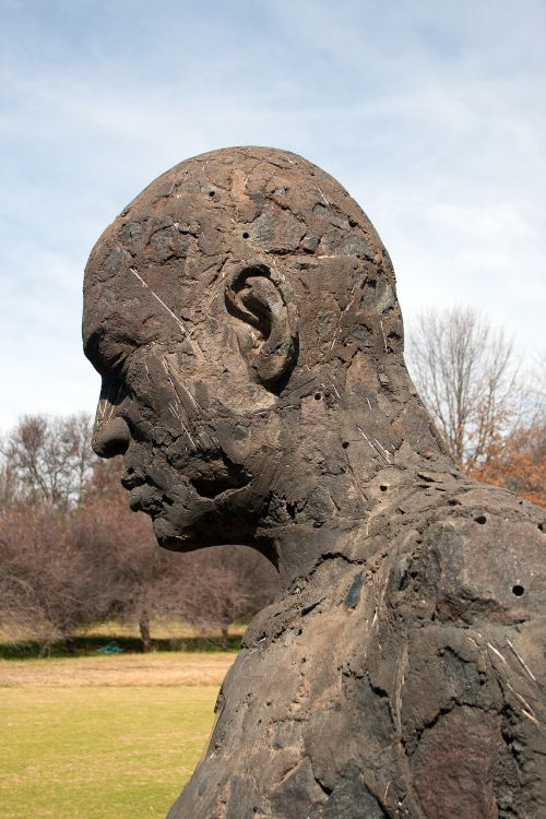 skulptūra,figūra,statula,Patinas,menas,grubus,galva,veidas,profilis,pečiai,parkas,dangus