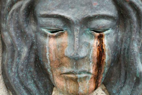sculpture mask tears bronze
