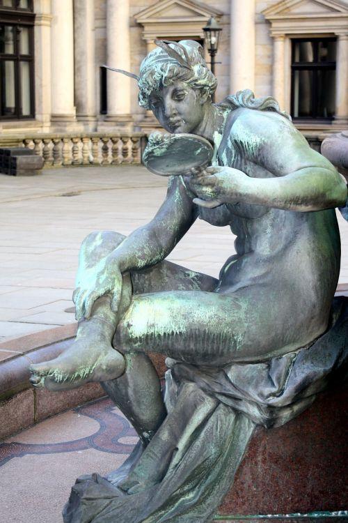 skulptūra, statula, menas, žmogus, hamburgas, Hanzos miestas Hamburgas, hamburgensien, hamburgija, fontanas, miesto rotušė, tuštybė, savimyla, be honoraro mokesčio