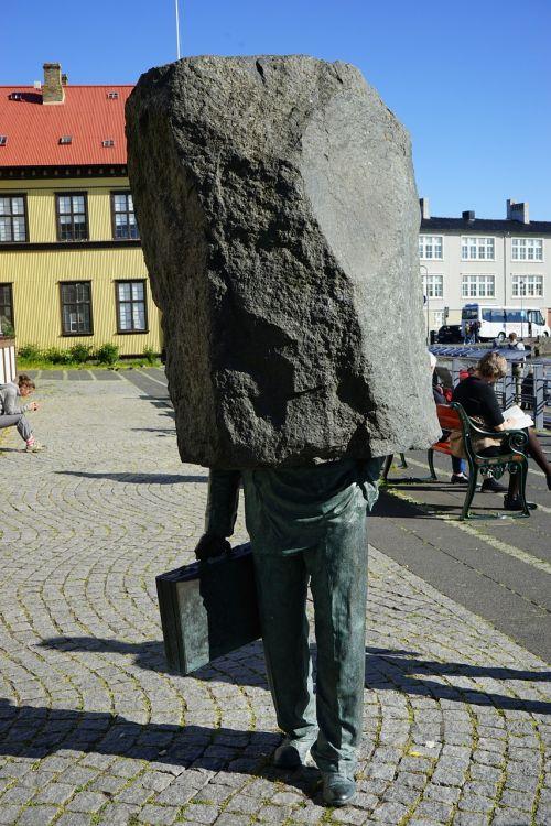 skulptūra,be galvos,akmuo,Reikjavikas,meno kūriniai,iceland