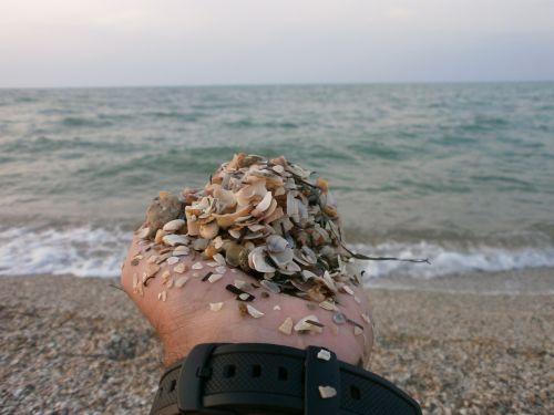 sea hand sand