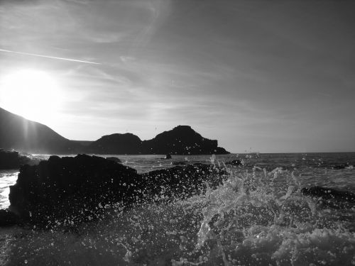 sea waves rocks
