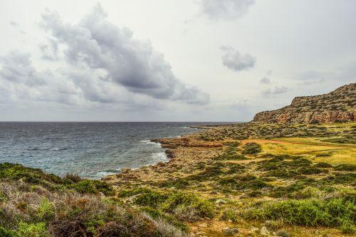 jūra,kranto,gamta,kraštovaizdis,dangus,debesys,peizažas,uolos pakrantė,horizontas,Debesuota,pakrantė,cavo greko,Kipras