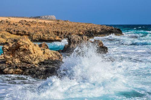jūra, bangos, gamta, pajūris, uolos pakrantė, kraštovaizdis, pakrantė, purslų, sala, ayia napa, Kipras, be honoraro mokesčio