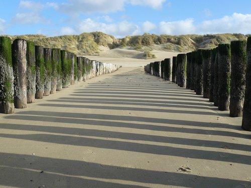 sea  beach  poles