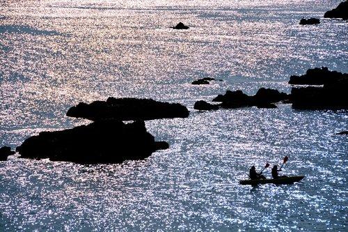 sea  sunset  canoeing