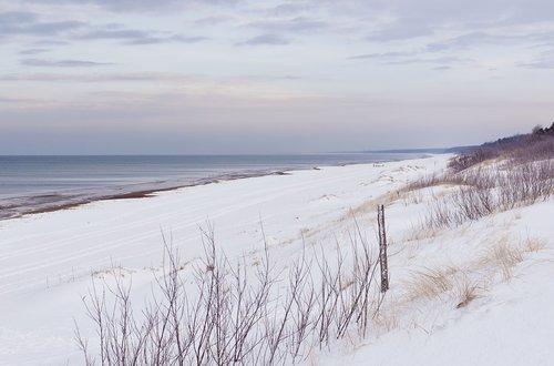 sea  snow  snowy dunes