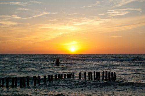 sea sunset the baltic sea
