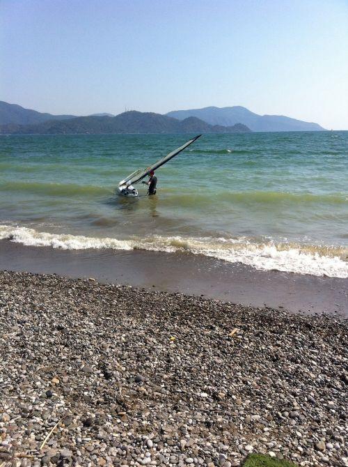 sea beach windsurfer