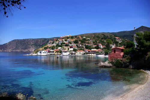 sea bay assos village island of kefalonia