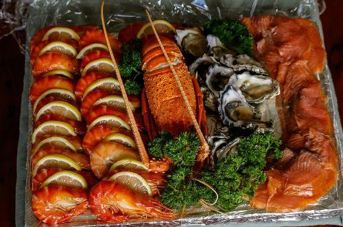 sea food prawns smoked salmon