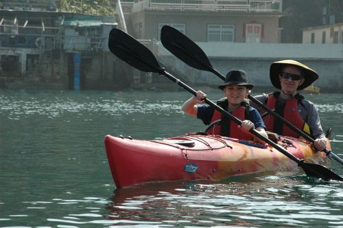 sea kayaking father and son adventure