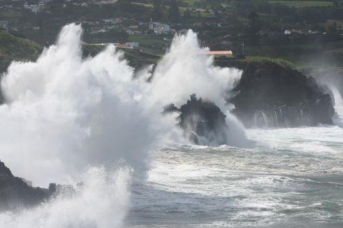 sea storm waves rocks