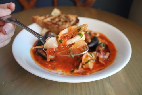 seafood squid mussels