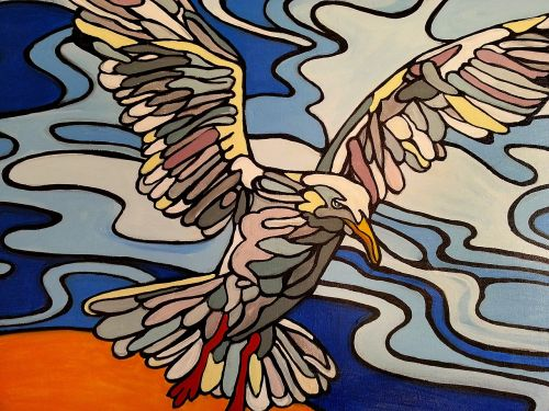 seagull acrylic painting cartoon-style