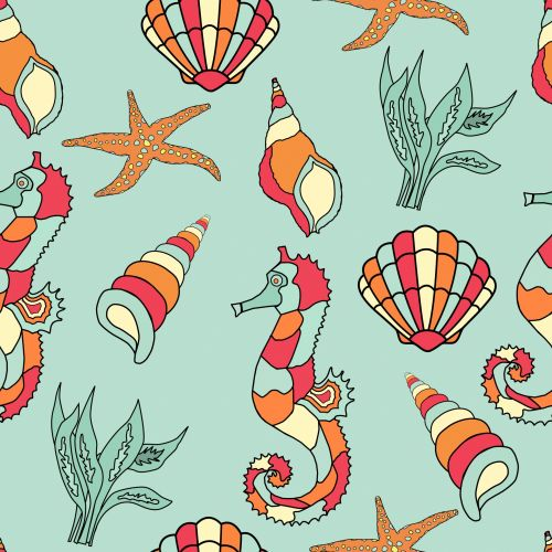 Seahorse, Seashell Wallpaper