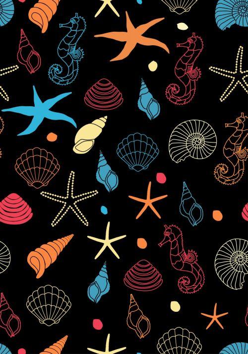 Seahorses And Shells Wallpaper