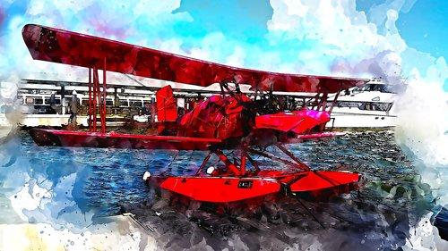 seaplane  sea  red