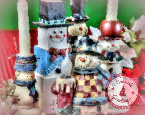 Seasons Greetings Snowmen