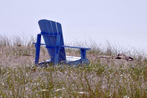 jūra, kėdė, medinis, žolės, vienatvė, sėdėti, sėdi, meditacija, sėdi žolėje