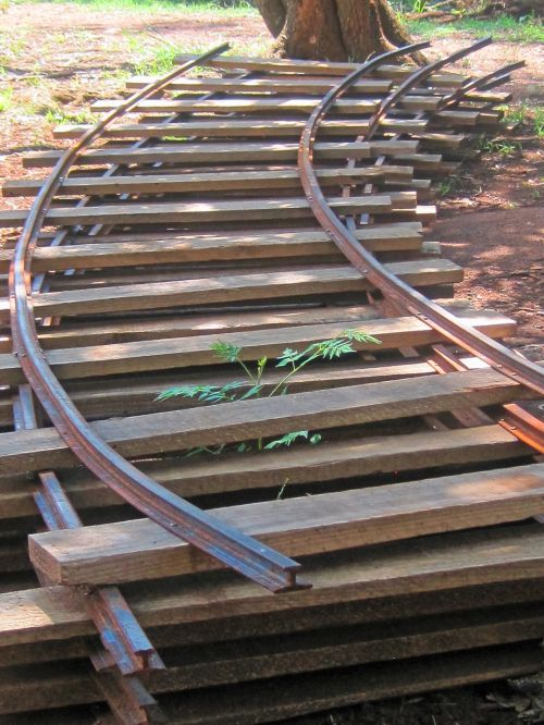 Sections Of Railway Track Stacked
