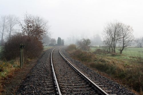 seemed,gleise,railroad tracks,lonely,loneliness,fog,morning,moor,bremervörde,elbe-weser -triangle,the devil's moor express