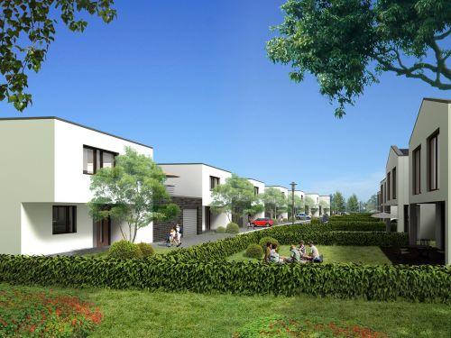 semi-detached house villa rendering