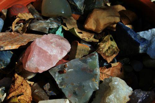 Semi-precious Stones And Dry Leaves