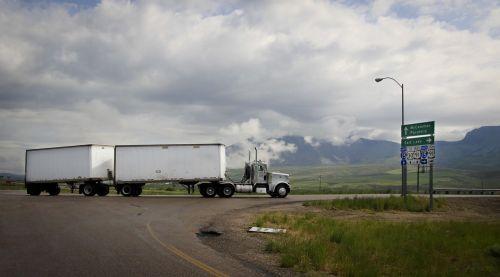semi truck truck double trailer