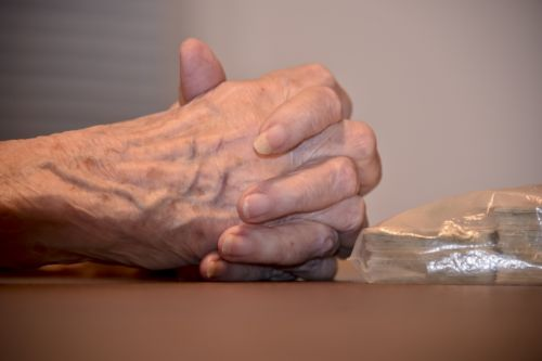Senior Woman's Hands Clasped