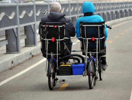 Seniors On Side By Side Bike