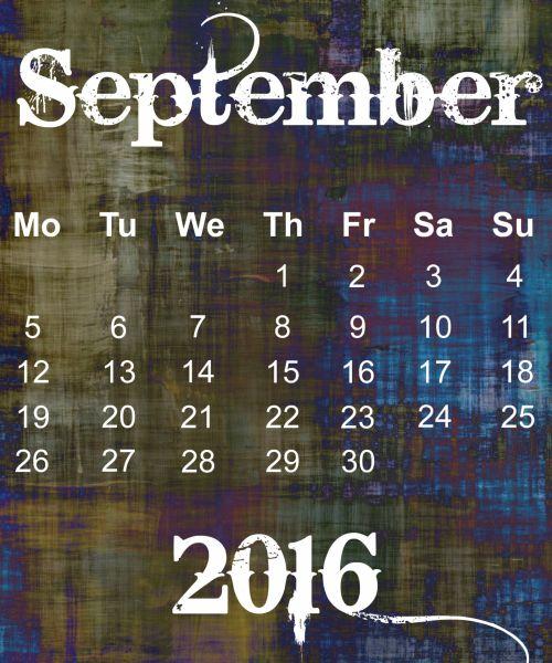 September 2016 Grunge Calendar
