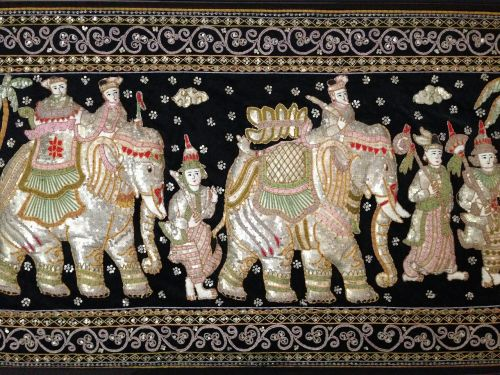 sequined tapestry asian elephants