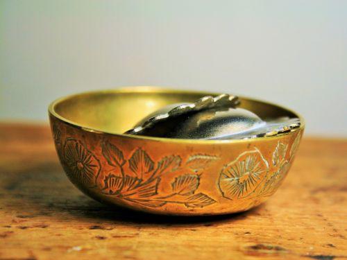 Serviette Rings In Brass Bowl
